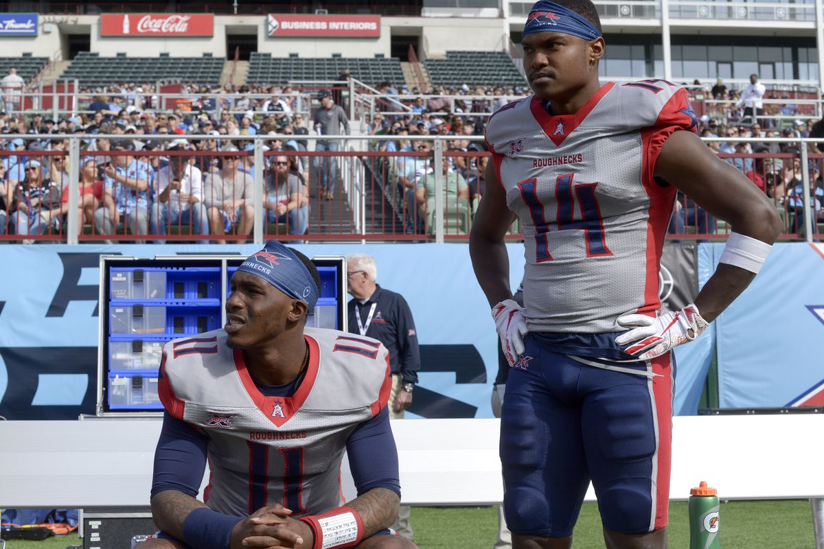P.J. Walker and Cam Phillips of the Houston Roughnecks look on before the XFL game against the Dallas Renegades at Globe Life Park on March 1, 2020 in Arlington, Texas.