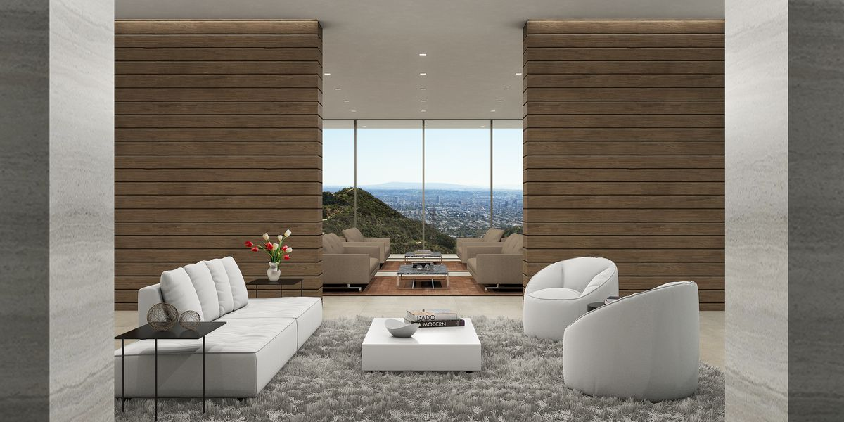 Living room with view of city