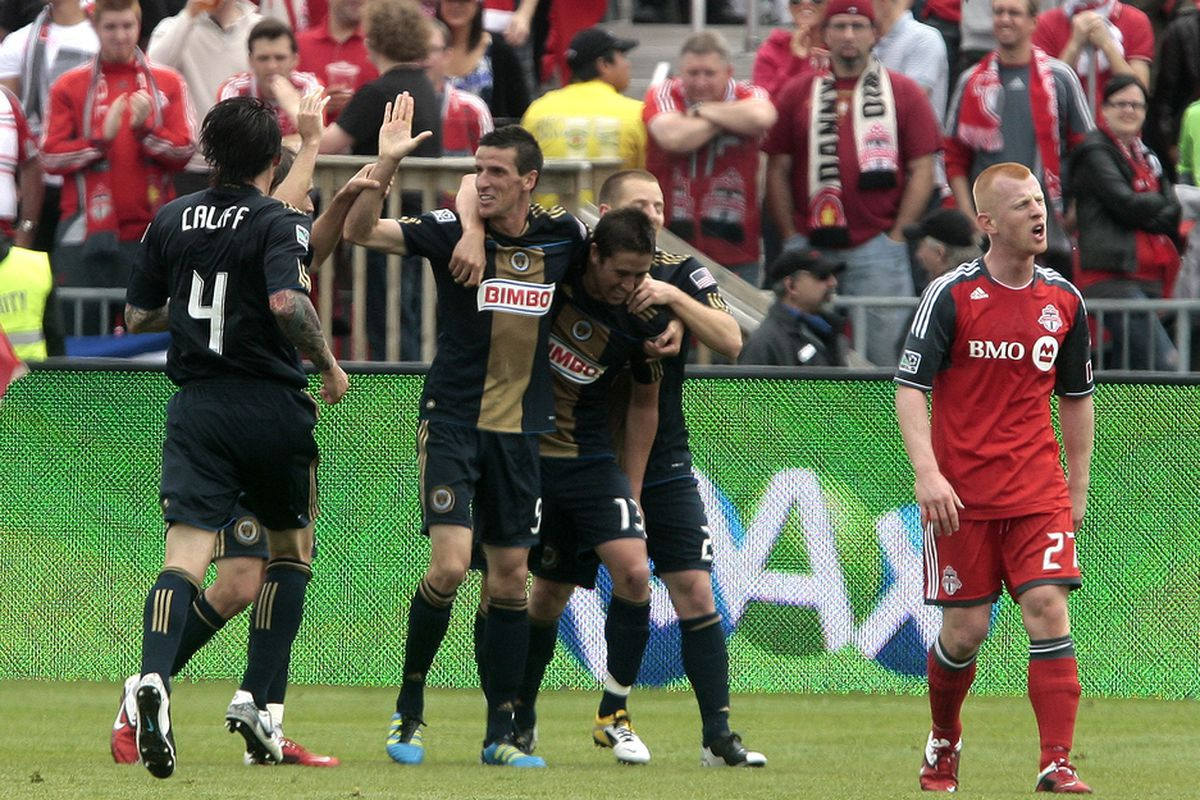 TORONTO, CANADA - MAY 28:  The Philadelphia Union celebrates a Sebastien Le Toux goal against Toronto FC during MLS action at BMO Field May 28, 2011 in Toronto, Ontario, Canada. (Photo by Abelimages/Getty Images)