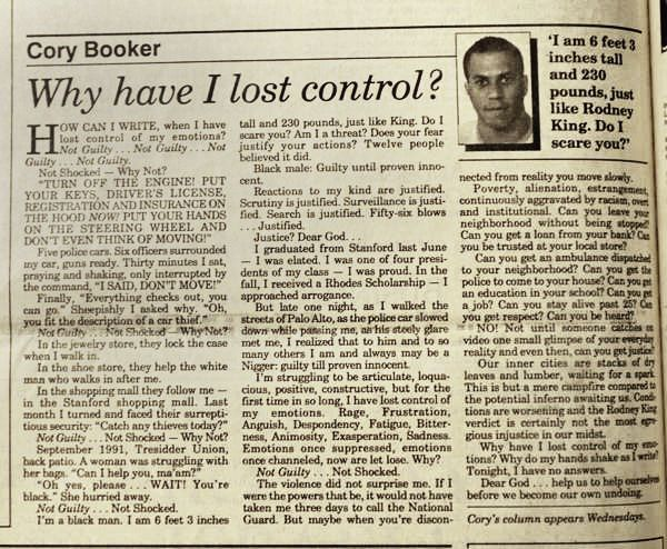 Cory Booker Stanford Daily column