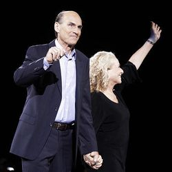 James Taylor and Carole King perform in concert at the Energy Solutions Arena in Salt Lake City, Utah, Thursday.