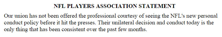NFLPA Response To Conduct Policy
