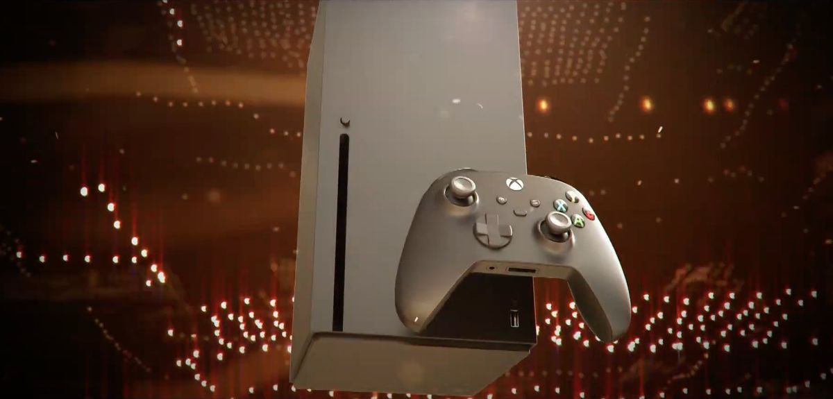 Xbox Series X render with controller floating in front of it, with front USB-A port visible
