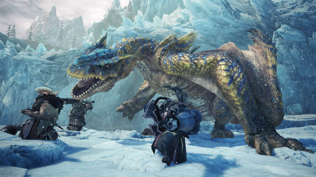 three hunters battling a Tigrex in an icy area in Monster Hunter World: Iceborne