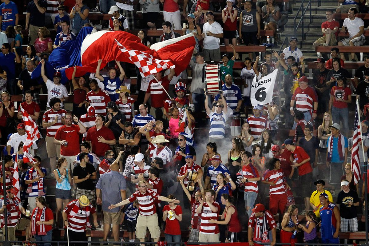 FRISCO, TX - JULY 02:  FC Dallas fans celebrate after Jackson Goncalves #6 of the FC Dallas scores against the Columbus Crew to win 2-0 at Pizza Hut Park on July 2, 2011 in Frisco, Texas.  (Photo by Tom Pennington/Getty Images)