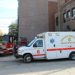 10:24 a.m. CFD engine and ambulance temporarily parking behind the firehouse, along Seminary Avenue -