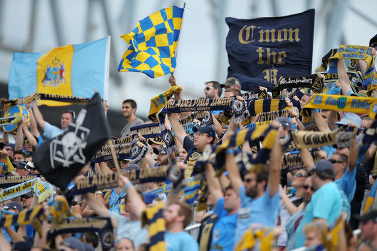 CHESTER PA - AUGUST 14: Philadelphia Union fans cheer during the game against the Colorado Rapids at PPL Park on August 14 2010 in Chester Pennsylvania. The match ended in a 1-1 tie.  (Photo by Drew Hallowell/Getty Images)