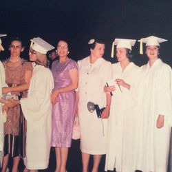 Lorraine Fullmer and her friends stand with their mothers at their Brigham Young High School graduation.