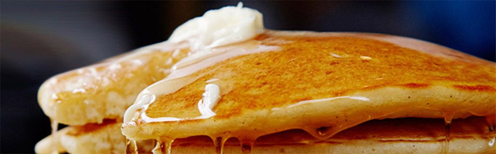 Pancakes, still available from the large, breakfast menu at Blueberry Hill Family Restaurant.