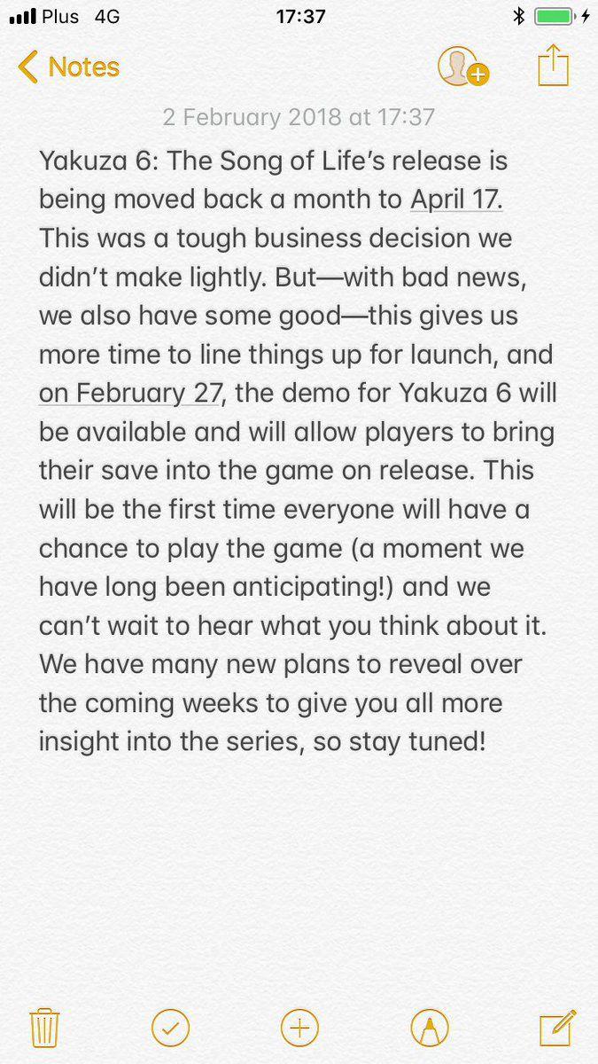 iPhone screenshot of Yakuza 6 delay announcement written in iOS Notes app