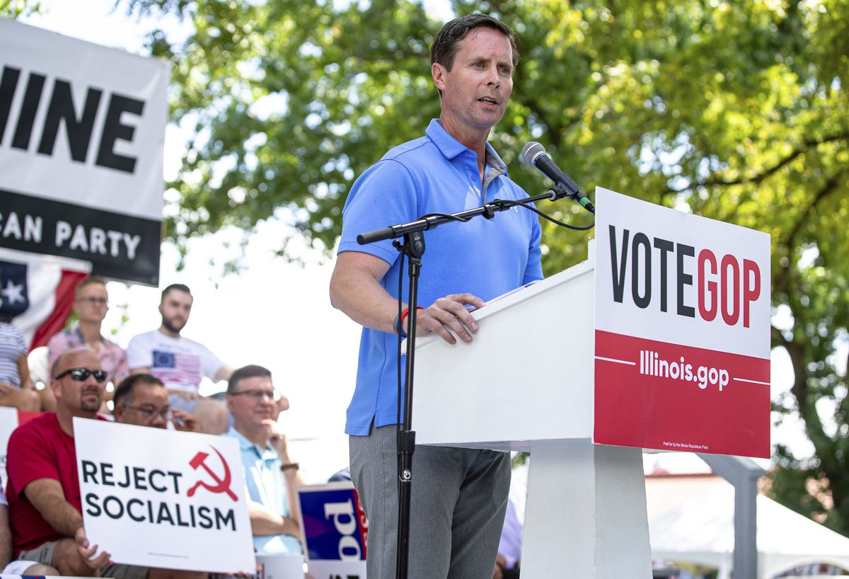 U.S. Rep. Rodney Davis, R-Ill., addresses the crowd at the Illinois State Fair in Springfield in 2019.