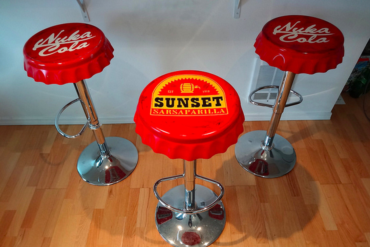 Make your own beautiful fallout themed bar stools polygon bethesda is really going for it when it comes to releasing official merchandise for the upcoming fallout 4 but one of the coolest projects out there solutioingenieria Image collections