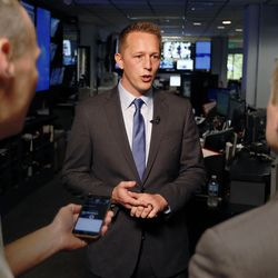Tanner Ainge, a Republican congressional candidate in the 3rd District, is interviewed in Salt Lake City on Tuesday, June 20, 2017.