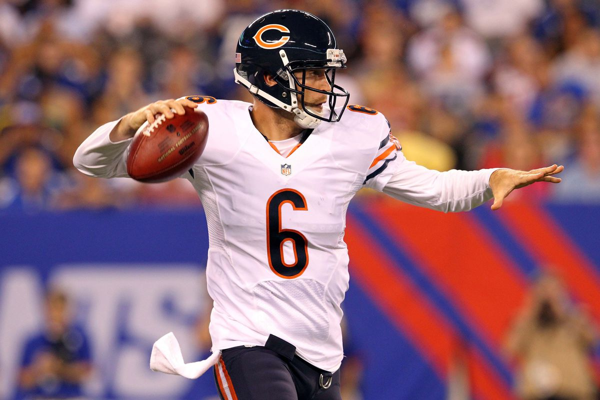 August 24, 2012; East Rutherford, NJ, USA; Chicago Bears quarterback Jay Cutler (6) drops back to pass during the second quarter of a preseason NFL game against the New York Giants at MetLife Stadium. Mandatory Credit: Brad Penner-US PRESSWIRE