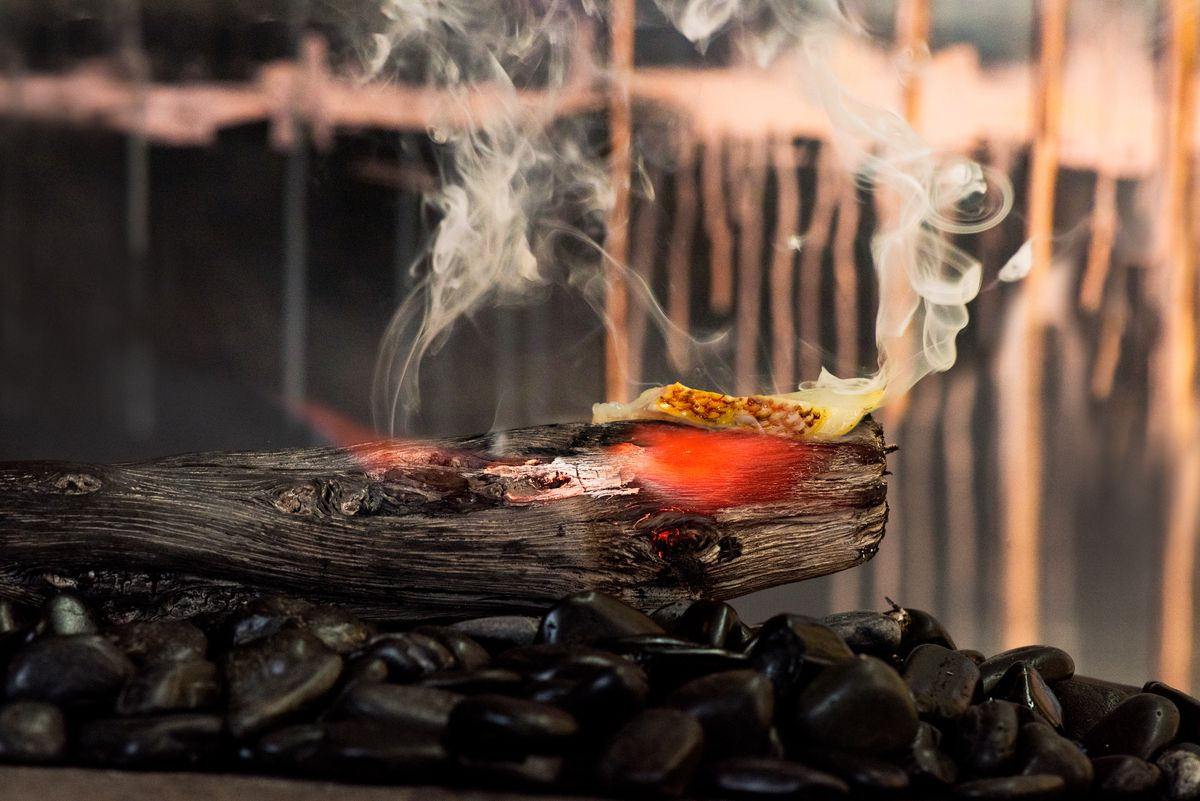 Canary rockfish being seared on a Japanese binchotan. Robin will do this in front of guests.