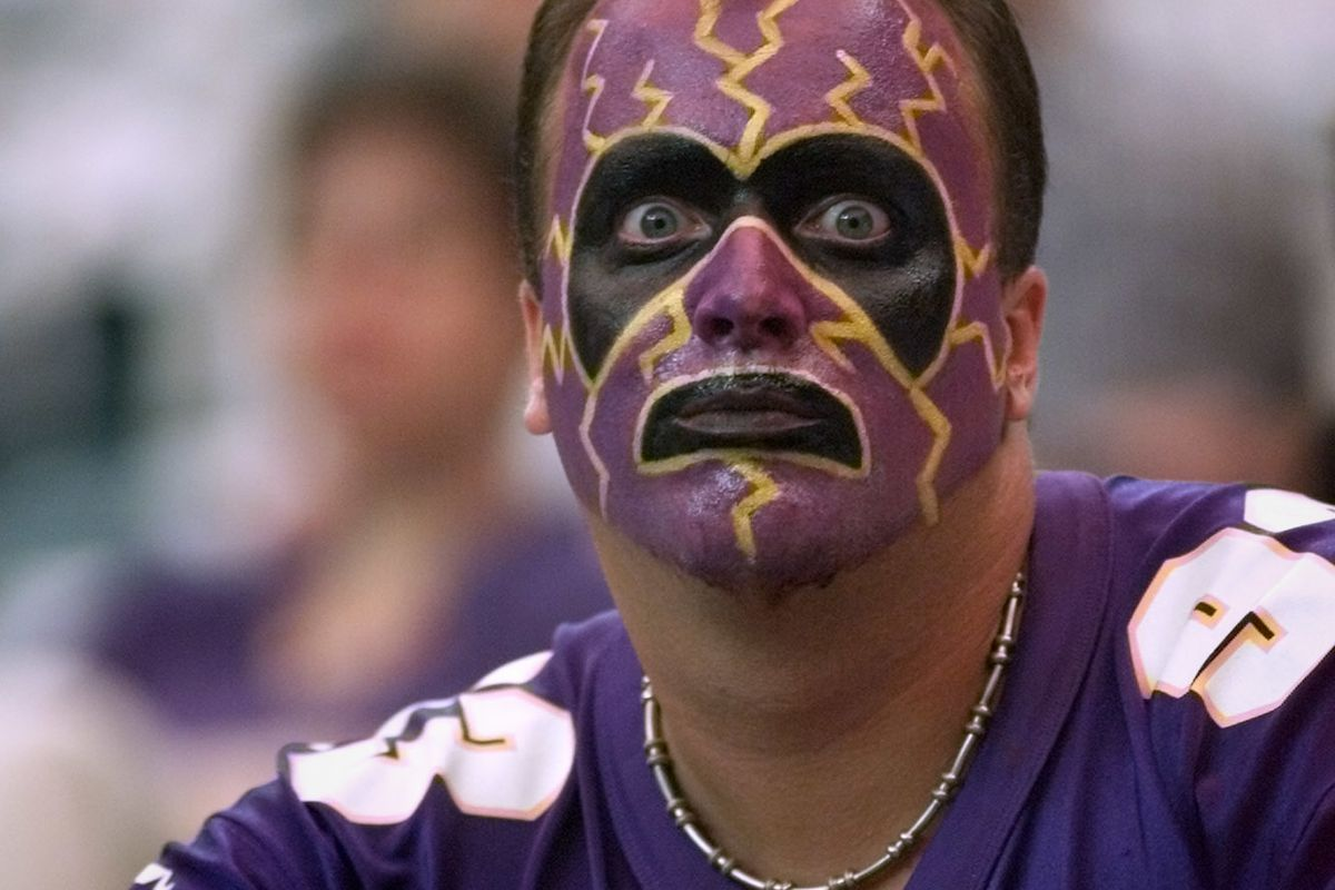 The Vikings beat the Atlanta Falcons in the season opener in Atlanta Sunday. — Jason Sufka of St. Louis Park showed his pride as the Vikings worked out pre-game in the Georgia Dome Sunday afternoon.(Photo By JERRY HOLT/Star Tribune via Getty Images)