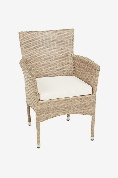 Woven and fabric chair.