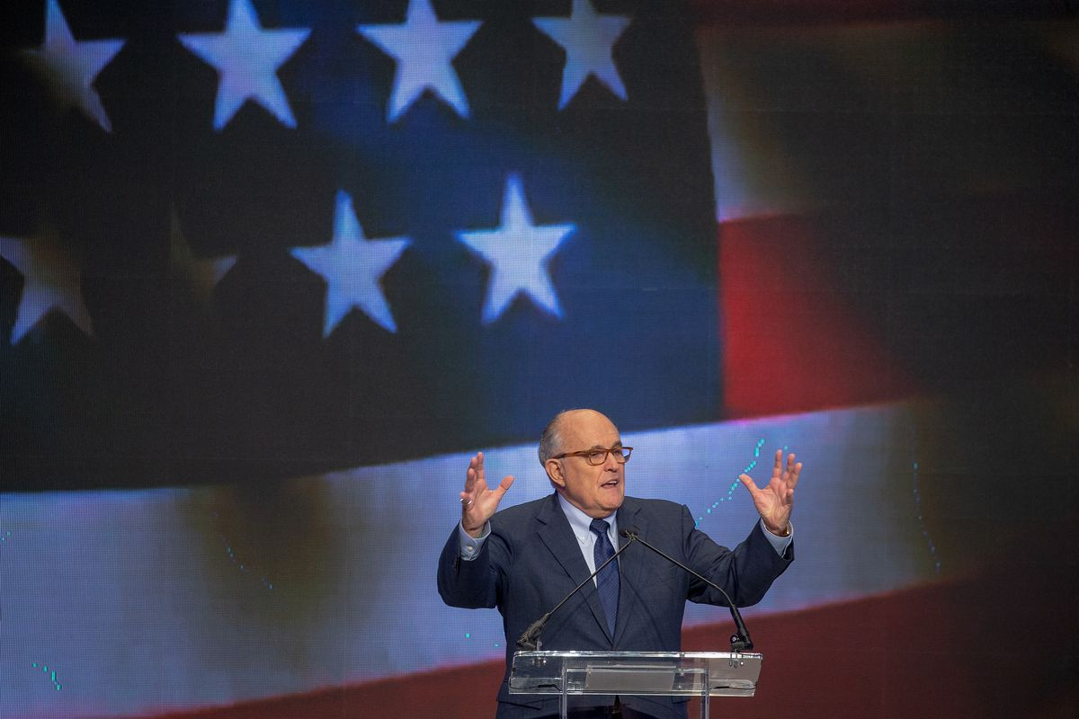 Rudy Giuliani speaking at a conference on Iran in Washington, DC in May 2018.