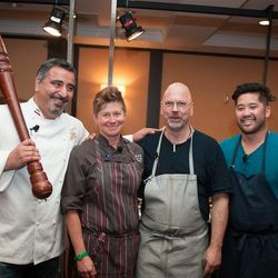Chefs from the first elimination round of the Eater SF Chef Challenge, from left: Hoss Zare, Jen Biesty, Staffan Terje and Brandon Jew