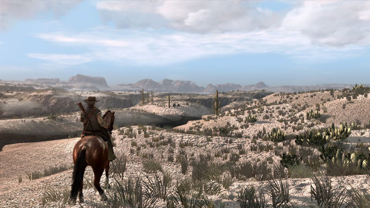Red Dead Redemption - John Marston on horseback surveying the desert