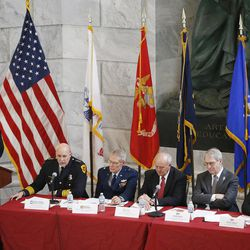 Panelists speak during an event sponsored by the Council for a Strong America at the Capitol rotunda in Salt Lake City on Tuesday, Feb. 21, 2017. The panel discussed a recent report that found many young adults in Utah and a majority of other states in the country are ill-prepared for the workforce and ineligible to join the military because criminal convictions or lack of proficiency in core subjects like math or science.