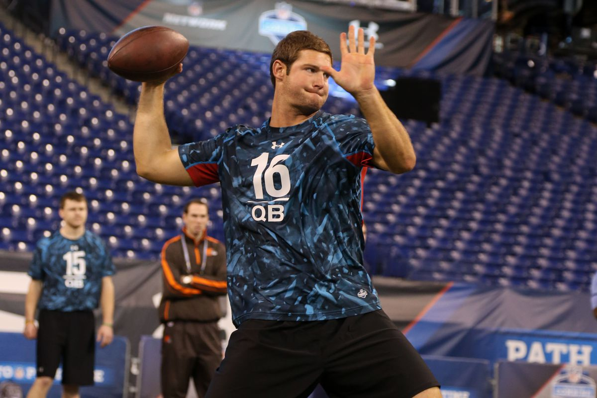 Tyler Wilson competing at the NFL Draft Combine in Indianapolis