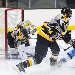 Boston Pride Goaltender Brittany Ott makes a save against the Buffalo Beauts on Dec 2nd, 2017
