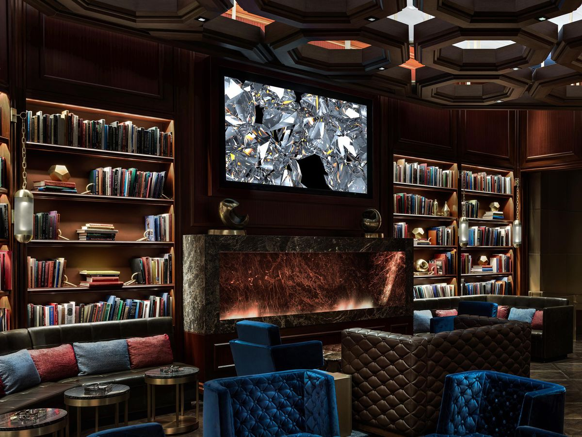 A library setting inside a bar.