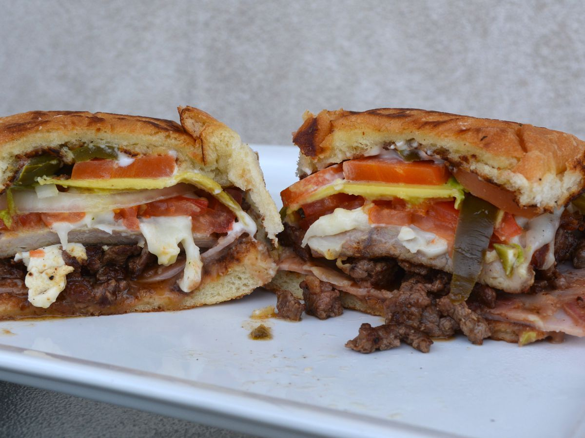 Torta with pork, steak, and cheese
