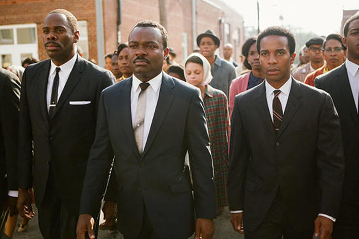 """David Oyelowo, center, as Martin Luther King Jr., leads the historic 1965 civil rights march from Selma to Montgomery, Alabama, in """"Selma,"""" now on Blu-ray and DVD."""