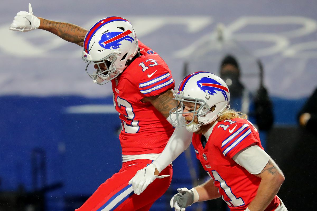 Gabriel Davis #13 of the Buffalo Bills celebrates his touchdown with Cole Beasley #11 against the Pittsburgh Steelers during the third quarter in the game at Bills Stadium on December 13, 2020 in Orchard Park, New York.