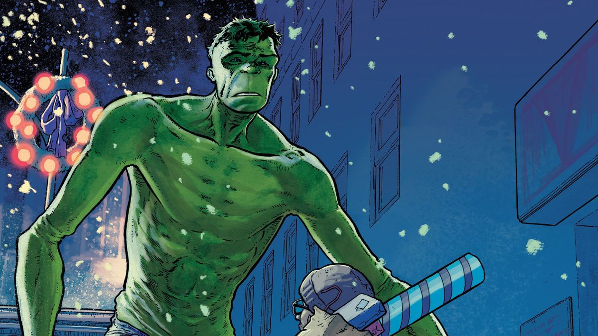 A late night Christmas shopper is surprised by an equally surprised Hulk on the snowy streets of New York in King in Black: Immortal Hulk #1, Marvel Comics (2020).