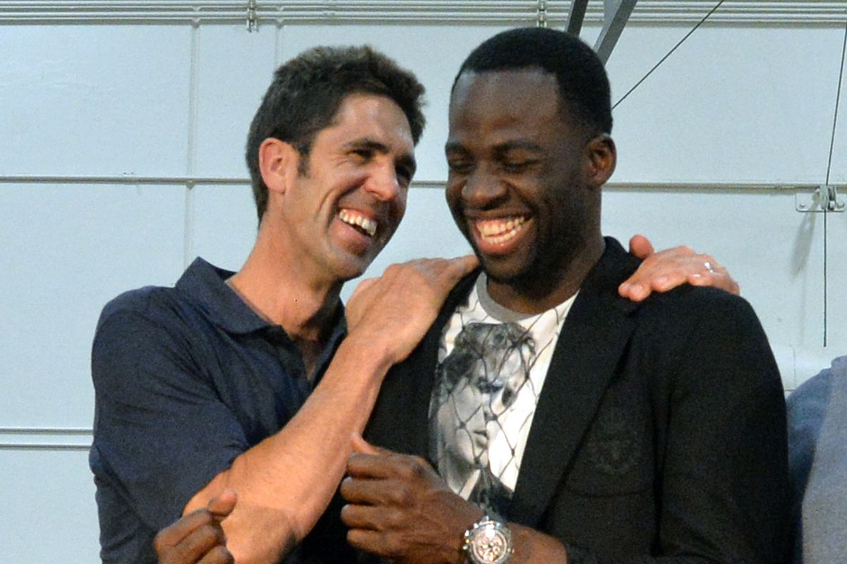 National Basketball Association's Executive of the Year Bob Myers, left, and Defensive Player of the Year Draymond Green share a laugh after an awards press conference at Myers' alma mater, Monte Vista High School, in Danville, Calif., on Tuesday, June 28