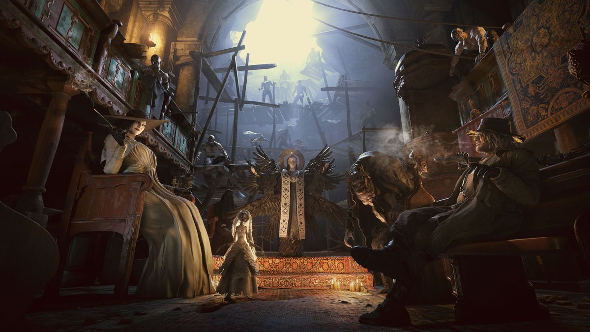 Artwork of the four lords and Mother Miranda from Resident Evil Village