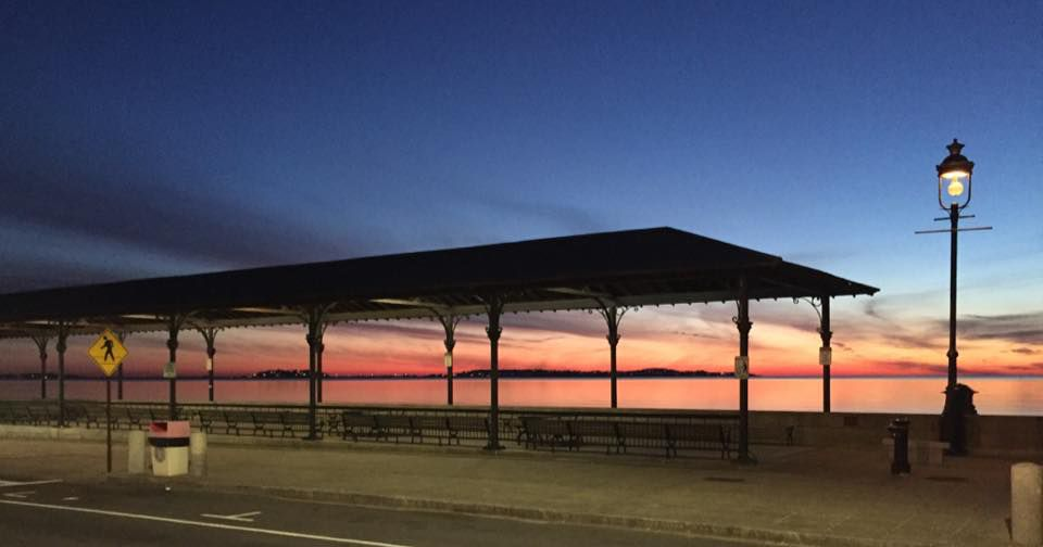 Revere Beach at sunset, as seen from Kelly's Roast Beef