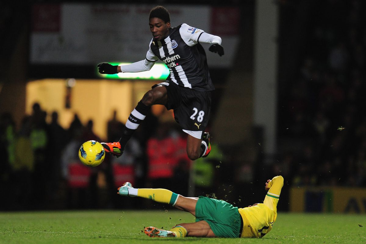 Sammy Ameobi has superpowers and barely registers your feeble attempt at a tackle, Kyle Naughton (but truth told, this may be the only thing you got wrong all match, sir)