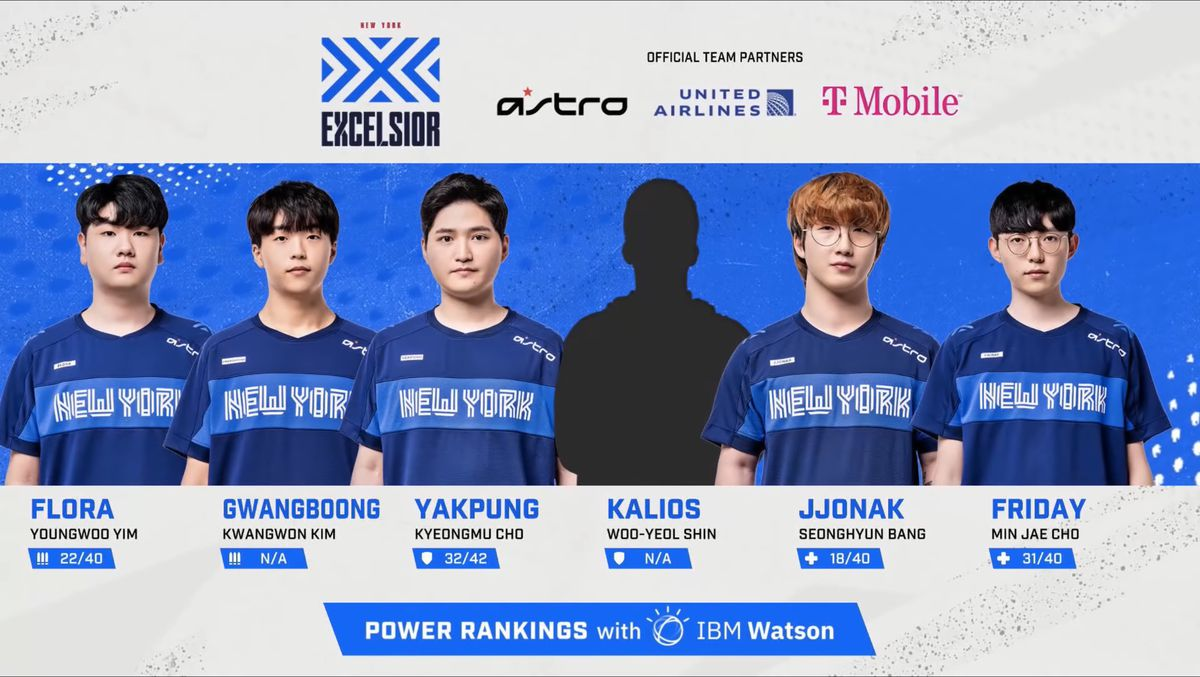 A still of the New York Excelsior from a July 11 broadcast of the Overwatch League