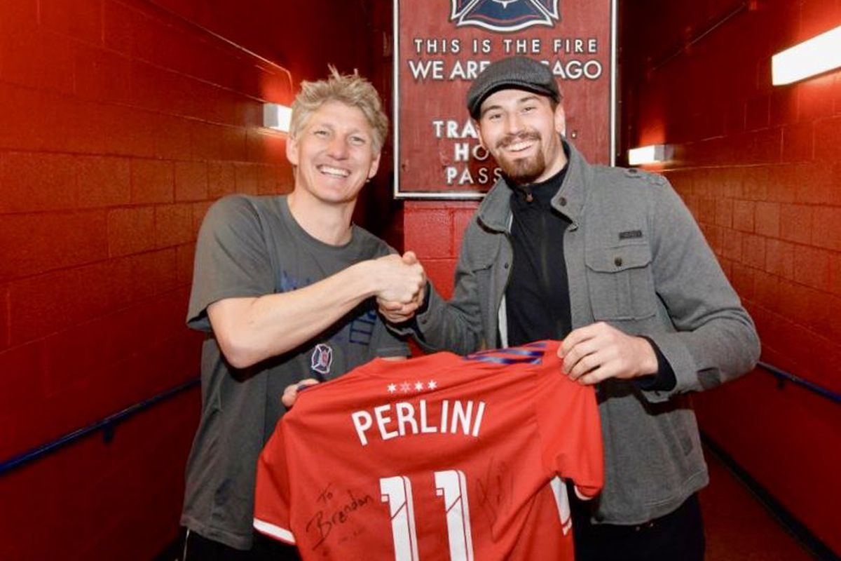 Chicago Blackhawks' Brendan Perlini finally meets Chicago Fire's Bastian Schweinsteiger