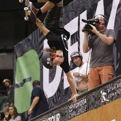 Shaun White of Carlsbad, CA in the vert final at Energy Solutions Arena for the Salt Lake City stop of the Dew Tour on Saturday, Sept. 10, 2011.