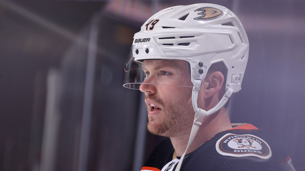 Max Jones #49 of the Anaheim Ducks warms up before the NHL game against the Arizona Coyotes at Gila River Arena on October 02, 2021 in Glendale, Arizona.