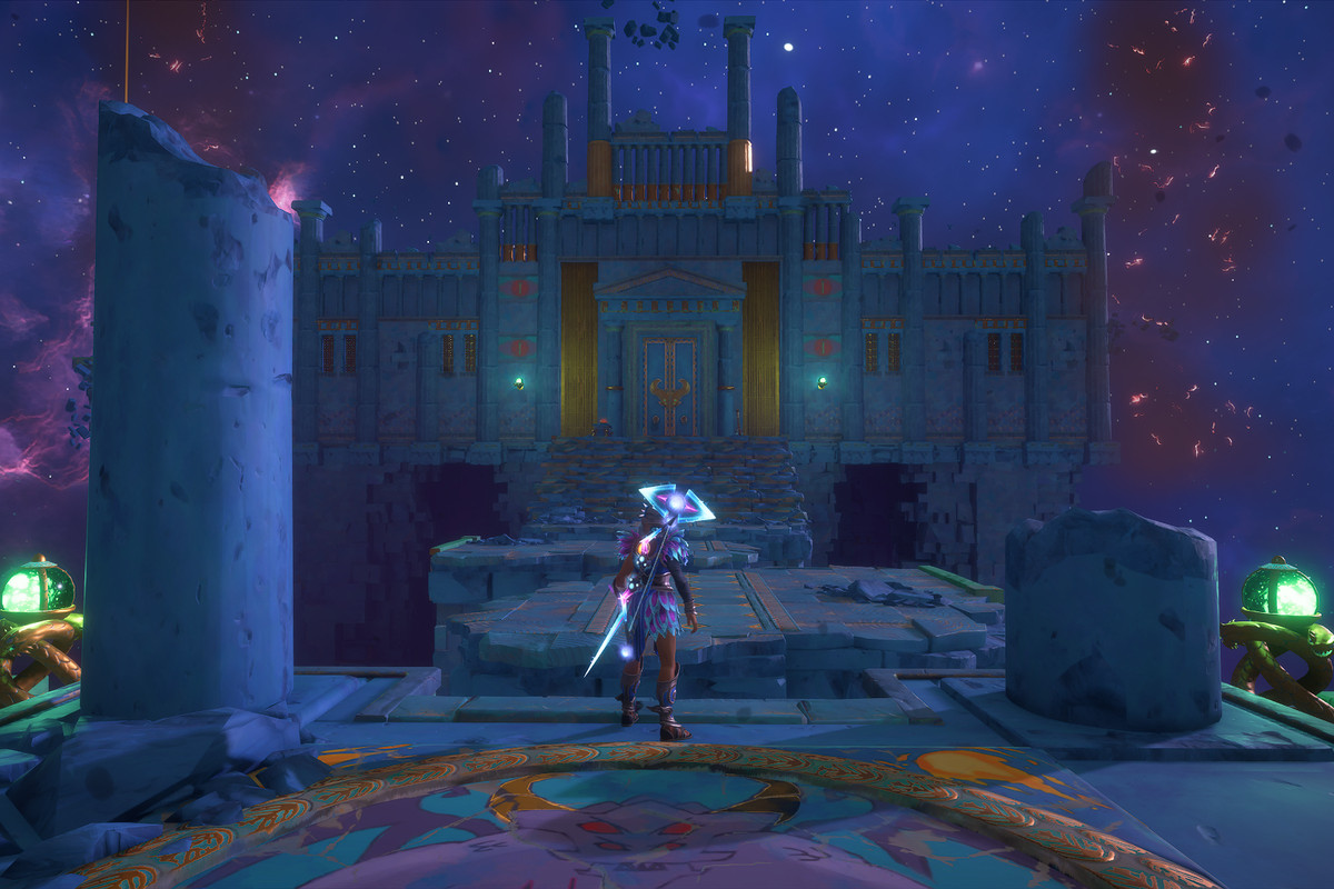 The entrance to the Arena of Bravery Vault of Tartarosin Immortals Fenyx Rising