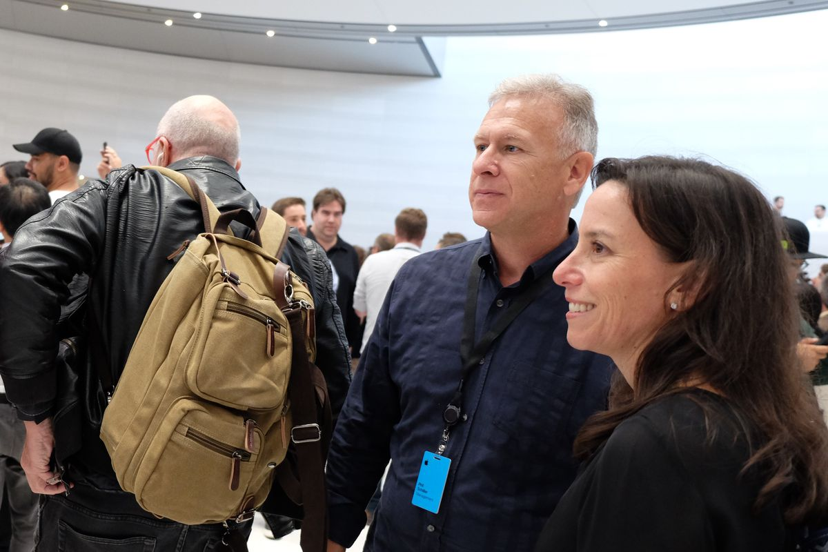 Apple SVP Phil Schiller and comms exec Trudy Muller, Steve Jobs Theater at Apple Park, iPhone X event, Sept. 12, 2017