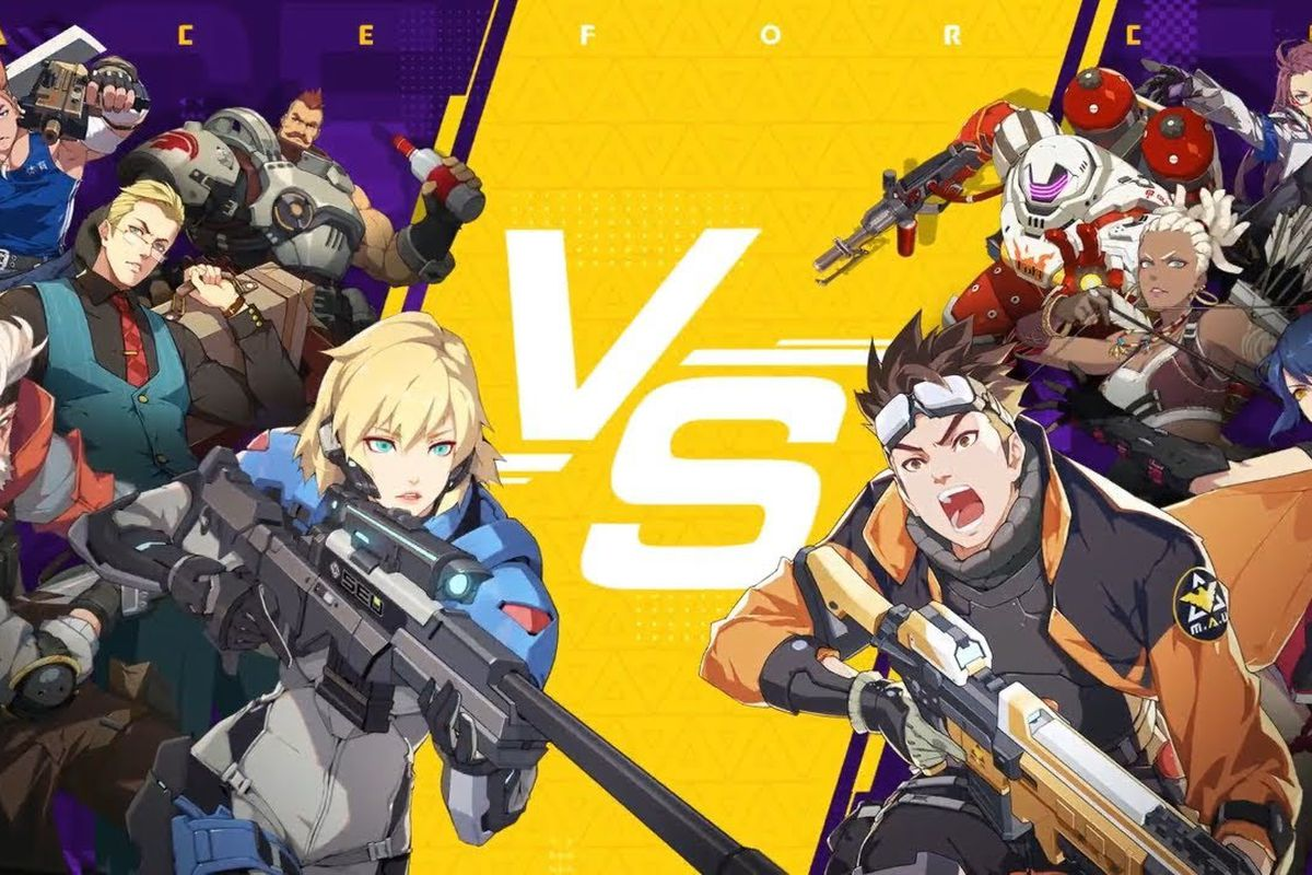 Ace Force - a cast of characters from the mobile game Ace Force pose against each other; they belong to different factions, and are separated by a VS symbol.