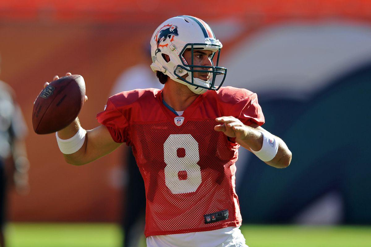 Aug. 4, 2012;  Miami, FL, USA; Miami Dolphins quarterback Matt Moore (8) throws a pass during a scrimmage at Sun Life Stadium. Mandatory Credit: Steve Mitchell-US PRESSWIRE