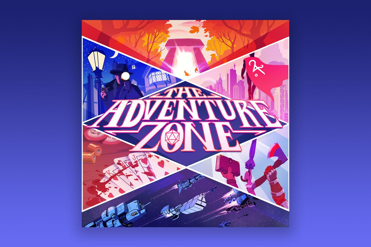 """Six illustrations in triangles around a diamond that says """"The Adventure Zone"""". The top is the Amnesty portal. Top-left is a Sherlock character looking through a magnifying glass. Top-right is a superhero with their back to the viewer.. Bottom-left is playing cards laid out in a royal flush with blood splattered across them. Bottom-right is three hands holding up the Extreme Teen Bible, the Umbrastaff, and Railsplitter. The bottom is four spaceships flying through space."""