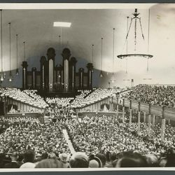A crowd of LDS general conference goers inside the Salt Lake Tabernacle in April 1953, less than decade after, conference was practically shutdown during the World War II years.