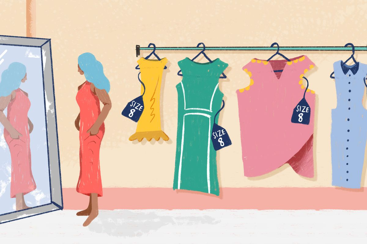 An illustration of a woman in a changing room looking at herself in the mirror with dresses hanging behind her.