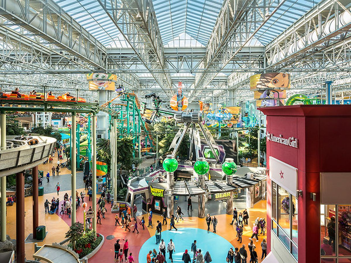 A skyline view of Nickelodeon Universe