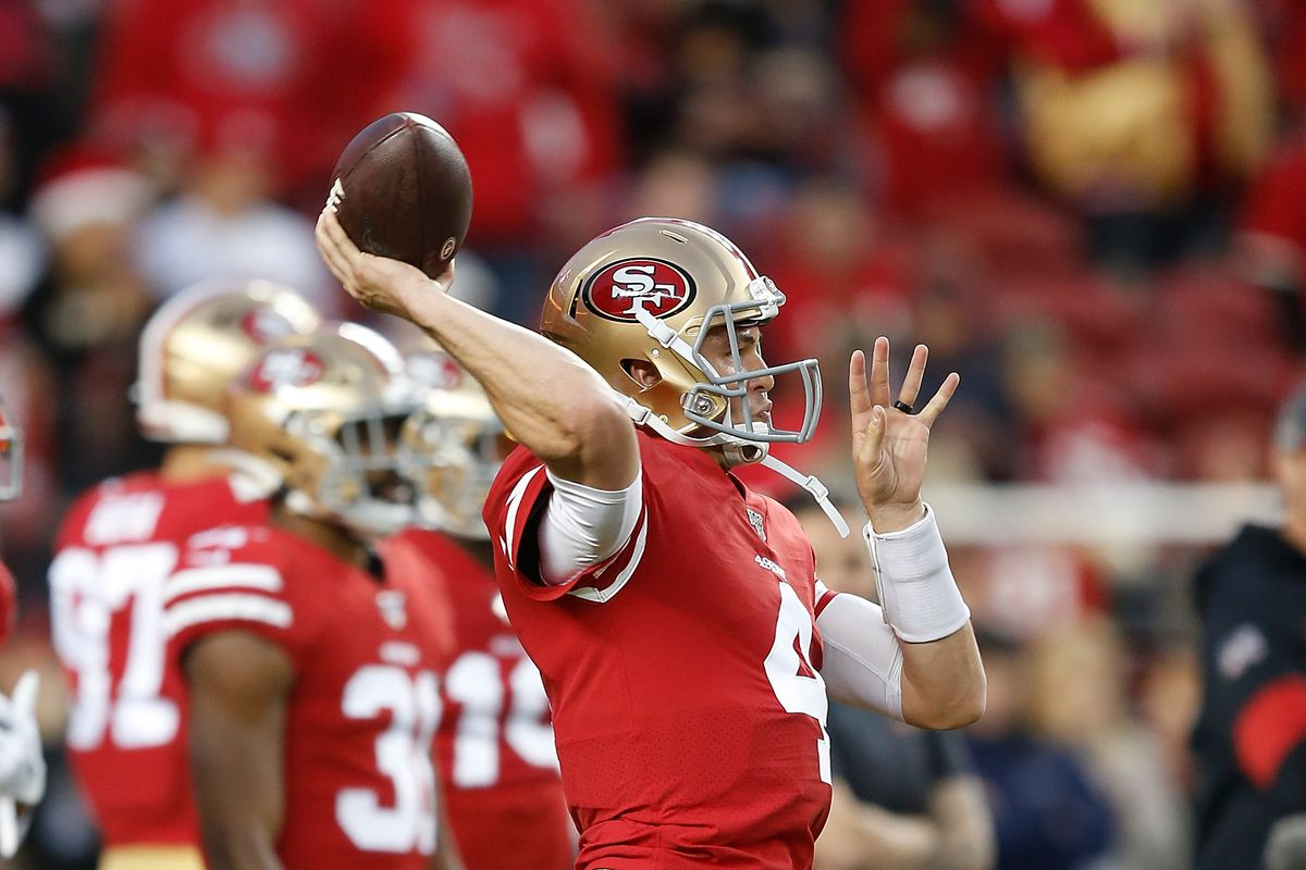 Nick Mullens of the San Francisco 49ers warms up before the game against the Los Angeles Rams at Levi's Stadium on December 21, 2019 in Santa Clara, California.