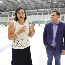 Catherine Raney Norman, chairwoman of the Salt Lake City-Utah Committee of the Games, and Steve Starks, committee vice chairman and Olympic adviser to Gov. Spencer Cox, talk about future Olympic Games at the Utah Olympic Oval in Kearns on Thursday, June 17, 2021.